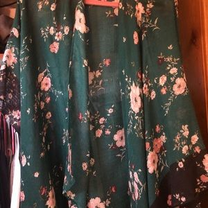 Green and floral print kimono from Lane Bryant